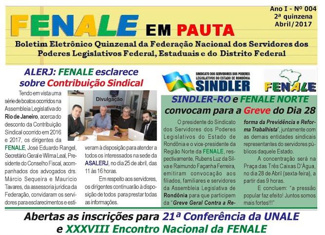 FENALE EM PAUTA – SEGUNDA QUINZENA DE ABRIL DE 2017-Nº 4