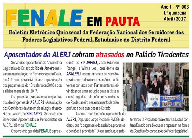 FENALE EM PAUTA – 1ª QUINZENA DE ABRIL DE 2017 Nº 3