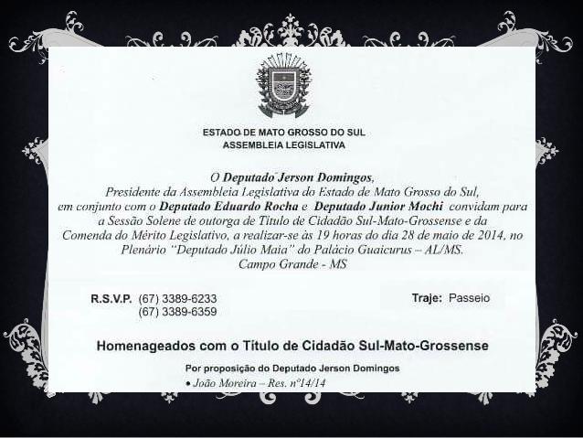 Homenagem: Título de Cidadão Sul-Mato-Grossense a João Moreira