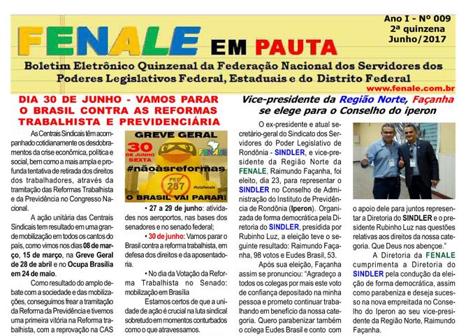 FENALE EM PAUTA – SEGUNDA QUINZENA DE JUNHO DE 2017 – Nº 9