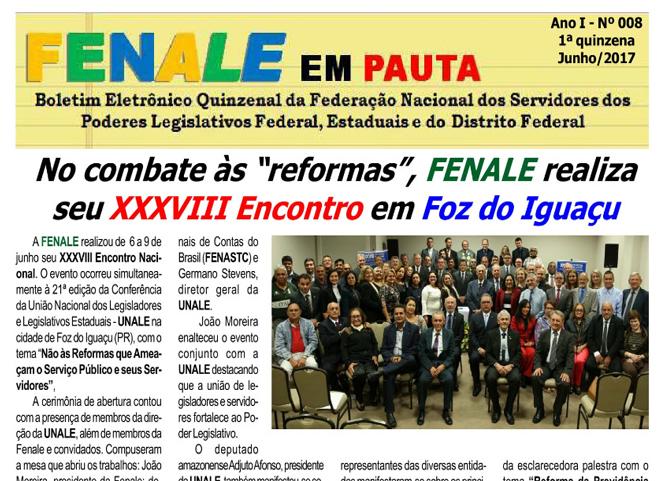 FENALE EM PAUTA – JUNHO DE 2017 – FENALE EM PAUTA Nº 8