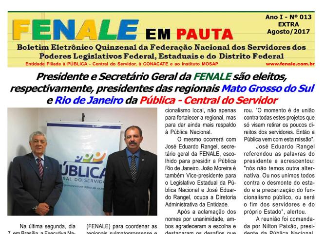 FENALE EM PAUTA Nº 13 – EXTRA DE AGOSTO DE 2017
