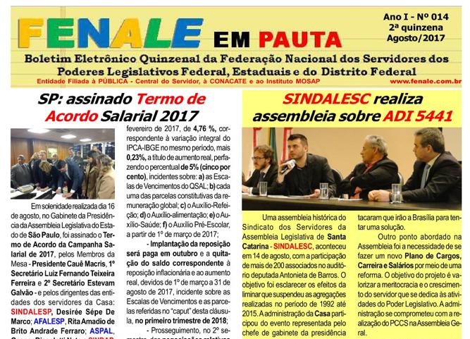 FENALE EM PAUTA Nº 14 – SEGUNDA QUINZENA DE AGOSTO DE 2017
