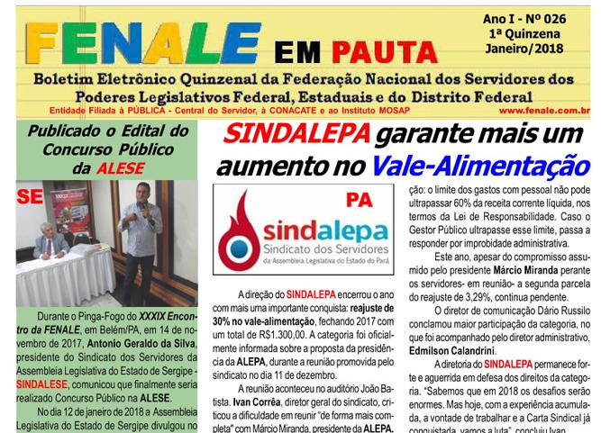 FENALE EM PAUTA Nº 26 – Janeiro DE 2018