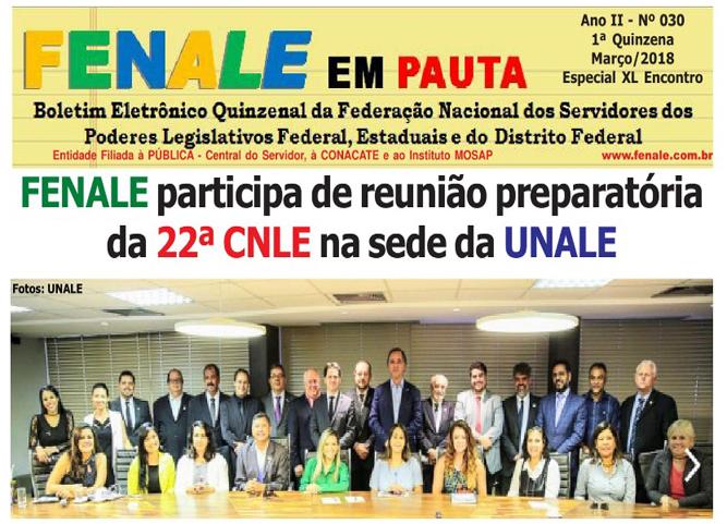 FENALE EM PAUTA Nº 30 – Fevereiro DE 2018