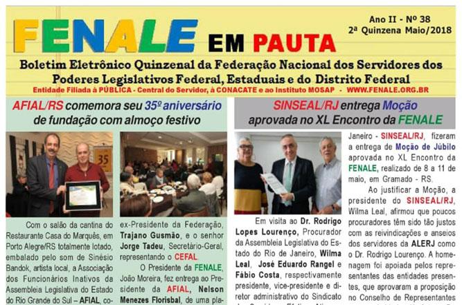 FENALE EM PAUTA Nº 38 – MAIO 2018