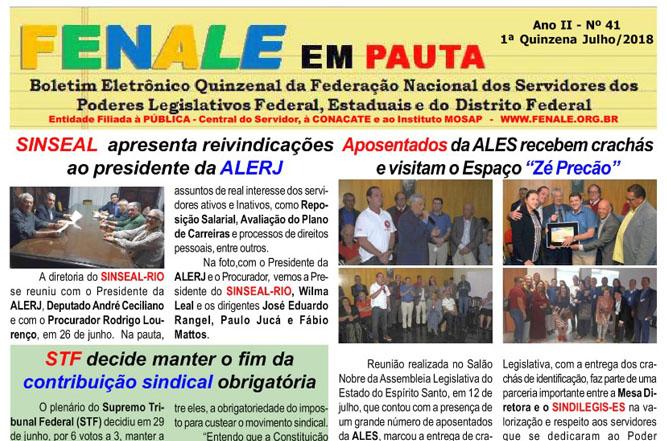 FENALE EM PAUTA – ANO II – Nº 41 – 1° Quinzena julho 2018