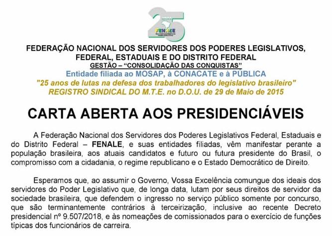 Carta aberta aos presidenciáveis