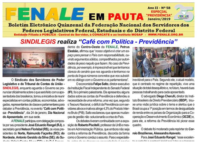 FENALE EM PAUTA – ANO II – Nº 58 – Janeiro de 2019 – Especial previdência