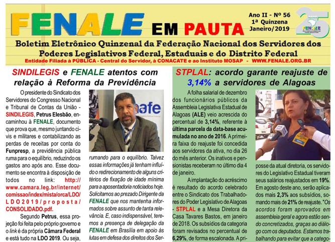 FENALE EM PAUTA – ANO II – Nº 56 – Janeiro de 2019