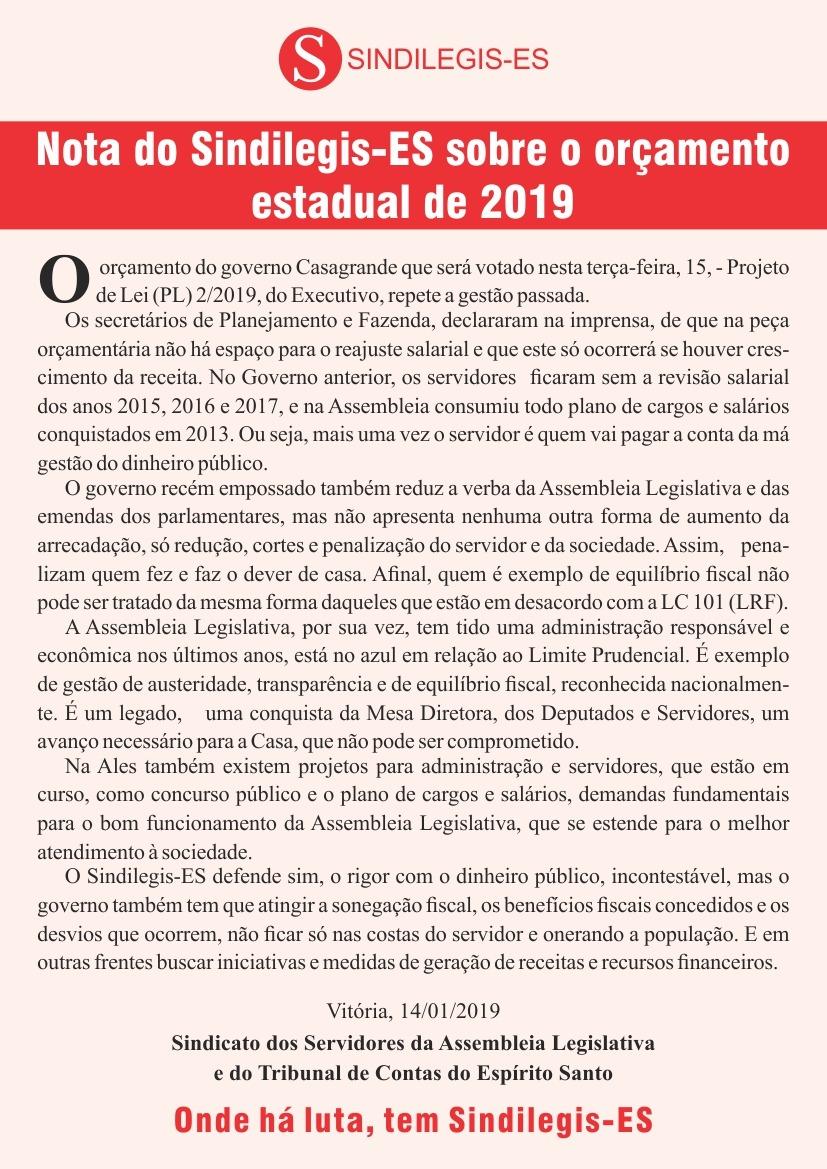 Nota do Sindilegis-ES Sobre o orçamento estadual de 2019