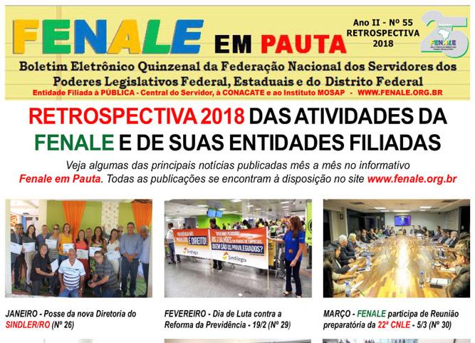 Retrospectiva 2018 das atividades da fenale e de suas entidades filiadas