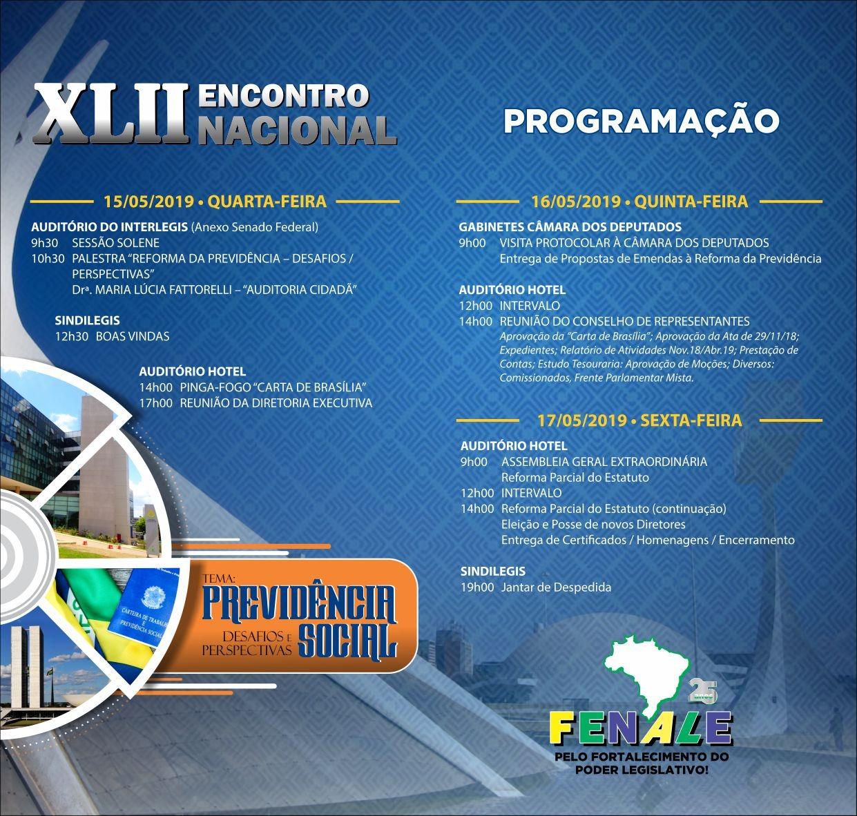 Programação XLII Encontro Nascional Brasilia