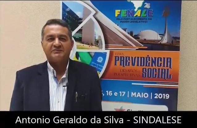 Depoimento de Antônio Geraldo da Silva,  presidente do SINDALESE  e diretor da FENALE