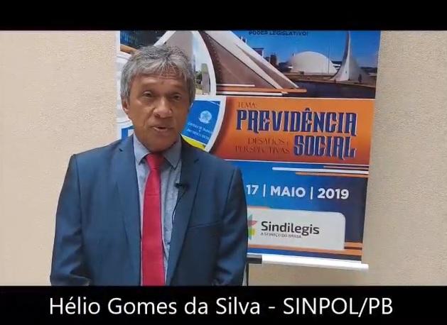 Depoimento de Hélio Gomes da Silva, vice-presidente do SINPOL/PB e diretor da FENALE