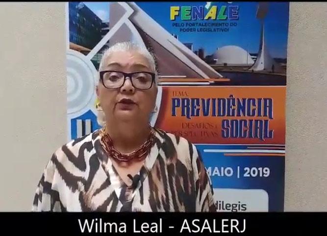 Depoimento de Wilma Leal, presidente do SINSEAL/RJ