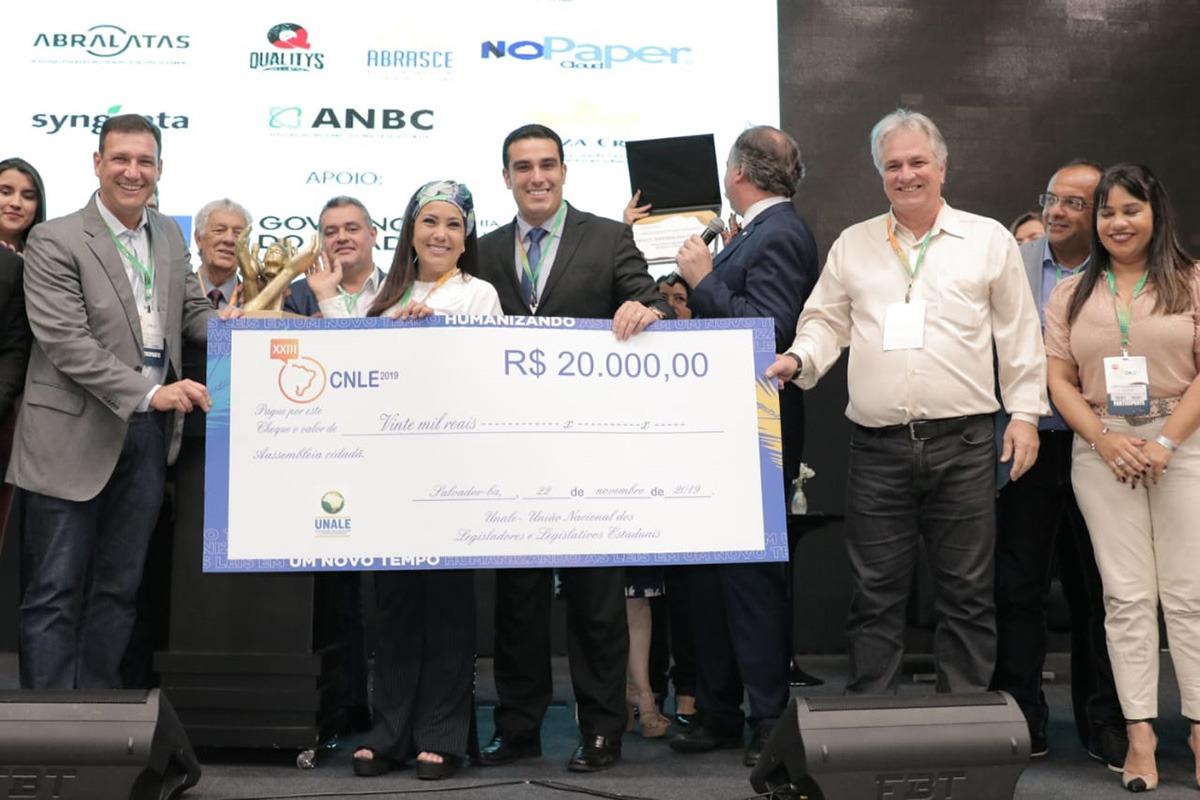 FENALE, por meio de seu presidente José Eduardo Rangel, saúda e parabeniza a Assembleia Legislativa do Espírito Santo pela conquista dos prêmios