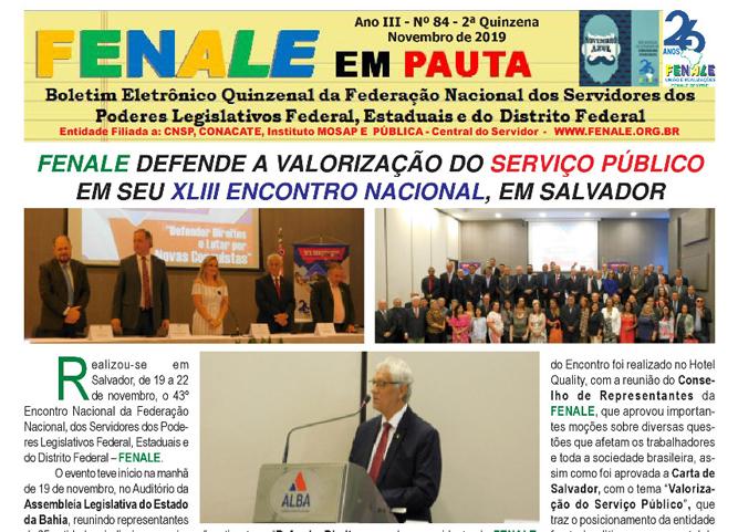 FENALE em Pauta n° 84 que traz um resumo do XLIII ENCONTRO NACIONAL DA FENALE